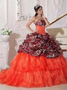 Sweetheart with Leopard Print 2013 Quince Ball Gown Bubbled