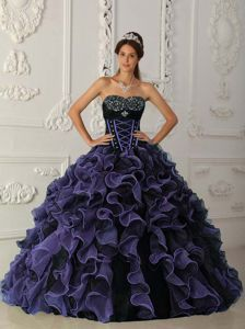 Latest Purple and Black Beaded and Ruffled Quince Dress for Sale