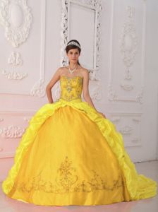Discount Elegant Two-toned Yellow Sweet 16 Dress Bubbled 2013