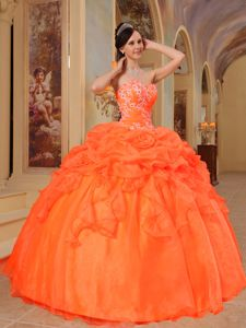 Gorgeous 2014 Orange Red with Bubbles and Hand Flowers 16 Gown