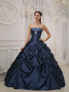 Delicate Pick-ups Navy Blue Beaded Quinceanera Dress Cheap