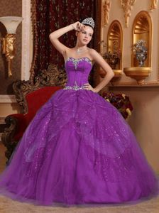 Ball Gown Appliqued Purple Quinceanera Gowns with Paillette