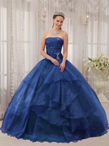 Popular Ball Gown Strapless Beaded Navy Blue Sweet 16 Dress