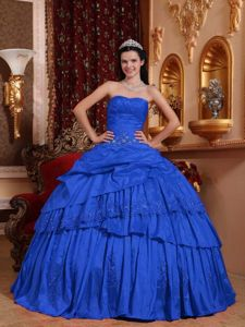 Traditional Ball Gown Floor-length Blue Quinceanera Dresses