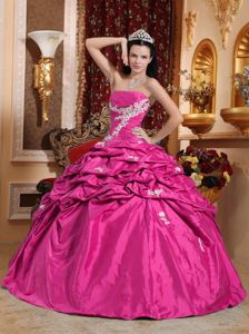 Pick Ups Hot Pink Dress for Quinceaneras with White Appliques