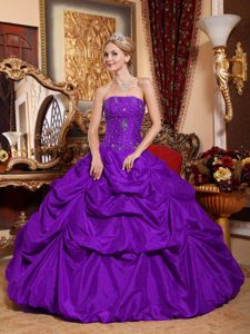 2014 Strapless Beaded Purple Quinceanera Dress with Pick Ups
