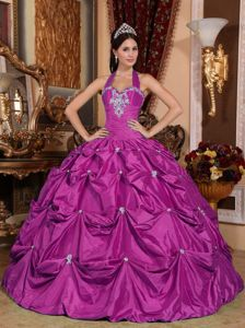 Halter Fuchsia Quinceanera Dresses with Pick Ups and Appliques