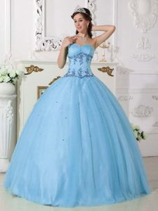 Simple Style Beaded Floor-length Quinceanera Dress in Light Blue