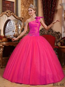 Ball Gown one Shoulder Ruched Hot Pink Quinceanera Gowns
