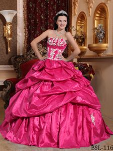 Hot Pink Strapless Sweet 16 Dress with Pick Ups and Appliques