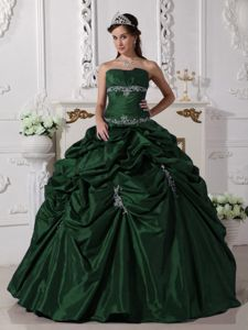 Dark Green Ball Gown Appliqued Sweet 15 Dress in Dark Green