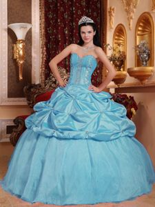 Designer Sweetheart Beaded Corset Quinces Dresses with Pick-ups