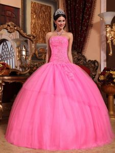 Rose Pink Dropped Waist Dress For Quinceaneras with Puffy Skirt