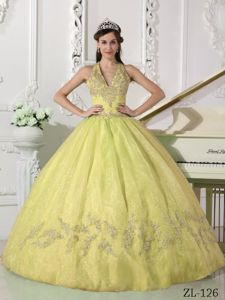 Haltered V-neck Yellow Puffy Ball Gown Sweet Sixteen Dresses
