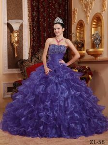 Ruffled Purple Organza Quinceanera Dress with Beading and Ruches