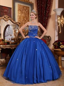 Royal Blue Strapless Appliqued Sweet 16 Dresses with Puffy Skirt