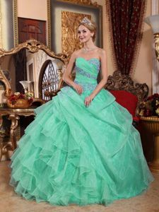 Apple Green Organza Quinceanera Dress with Appliques and Ruches