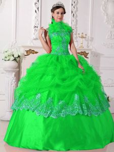 Spring Green Halter Top Sweet 16 Dress with Beading and Embroidery Torino Film Festival