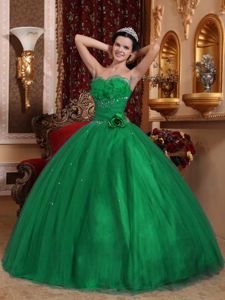 Sweetheart Green Quinceanera Gown with Beading and Hand Made Flowers