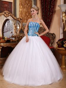 Strapless White and Blue Quinceanera Dress in Tulle and Shinning Fabric