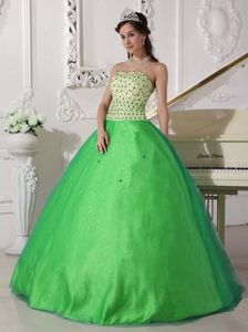 Green Sweet 16 Dress with Colored Beading in Tulle and Taffeta