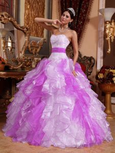 White and Fuchsia Sweet 15 Dress with Beading and Ruches in Organza