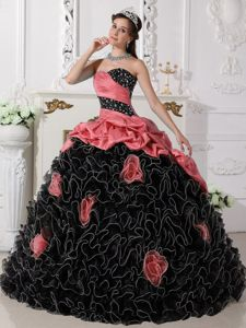 Coral Red and Black Sweet 15 Dress with Beading and Rolling Flowers