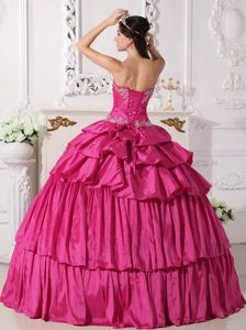 Hot Pink Sweetheart Taffeta Sweet 15 Dress with Beading and Ruches
