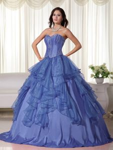 Sweetheart Beaded Blue Quinceanera Gown with Ruffles and Embroidery