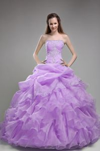 Lilac Quinceanera Dress with Beading and Ruffles in Organza
