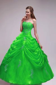 Spring Green Strapless Ball Gown Quinceanera Dress Beading