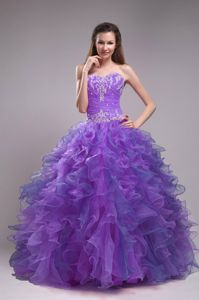 Multi-color Quinceanera Dress Sweetheart Appliques Beading Ruffle