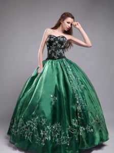 Sweetheart Black and Green Quinceanera Dress Embroidery