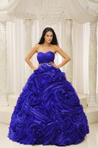 Royal Blue Sweetheart Beading Quinceanera Dress with Rosettes