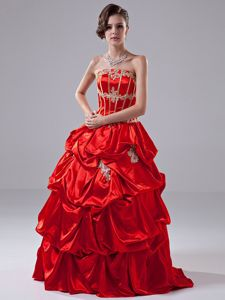 Bright Red Quinceanera Dress Strapless Appliques and Pick-ups