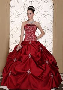 Strapless Embroidery and Beading Quinceanera Dress Wine Red