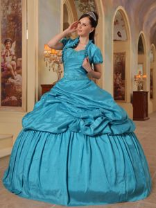Sweetheart Ball Gown Pick-ups Teal Quinceanera Dress Cheap