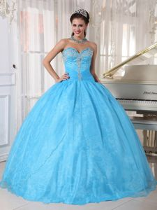 Sweetheart Appliques Quinceanera Dress Baby Blue for 2014 Spring