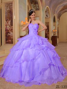 Handle Flowers Sweetheart Layers Lavender Quinceanera Dress