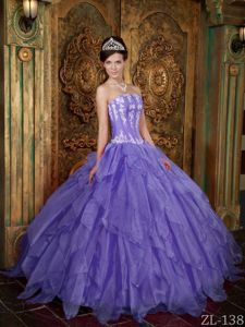 Ball Gown Quinceanera Dress Purple Strapless Appliques for Girls