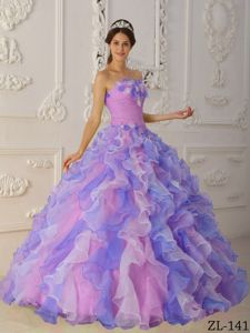 Multi-colored Quinceanera Dress Hand Made Flowers Ruffles Cheap