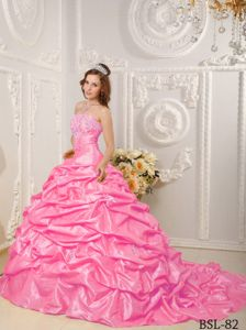Court Train Quinceanera Dress in Pink with Appliques Pick-ups