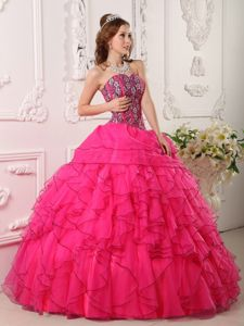 Floral Embellishment Ruffles Quinceanera Dress Multi-colored