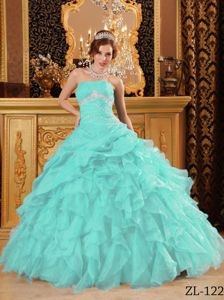 Ruffled Quinceanera Dress Baby Blue Beading Strapless Floor Length