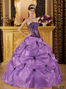 Purple Quinceanera Dress Strapless Appliques Beading Pick-ups