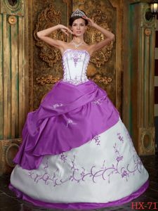 Multi-colored Quinceanera Dress White and Lavender Embroidery