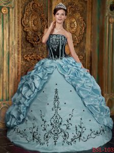 Strapless Black and Blue Quinceanera Gown Embroidery Pick-ups