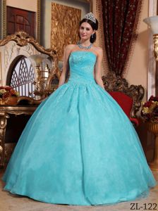 Baby Blue Ball Gown Dress with Appliques Beading Strapless Neck