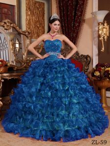 Beading Ruffle Layers Full Skirt Quinceanera Dress Peacock Blue