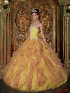 Yellow and Pink Quinceanera Dress Sweetheart Beading Ruffles